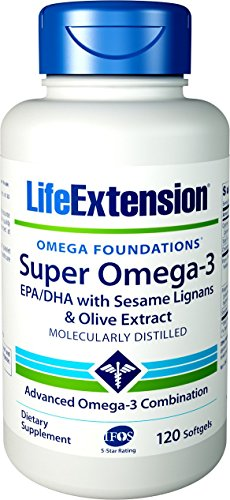 Extract Softgels (Life Extension Super Omega-3 EPA/DHA with Sesame Lignans & Olive Extract, 120 softgels)