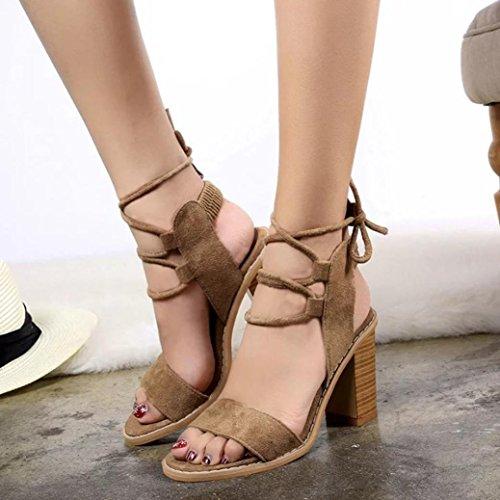 Ouneed ® Moda mujer bandaje bombas tacones altos sandalias marrón