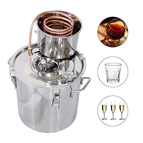 ECO-WORTHY 5 Gal Moonshine Still Spirits Kit 18L Water Alcohol Distiller Copper Tube Boiler Home Brewing Kit