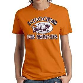 Wxf Womens Kegger for Grownups Classic Tees Orange