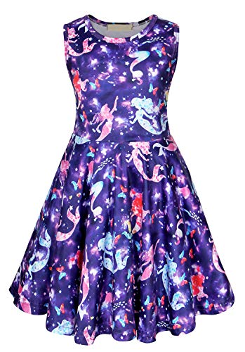 (HenzWorld Dresses for Girls Little Mermaid Ariel Costumes Sky Stars Dress Princess Birthday Party Sleeveless Outfit)