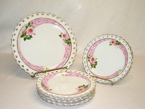 Three Star YL380 Fine Porcelain Heart Rim 7 Piece Dessert Serving Plate Gift Set, Pink