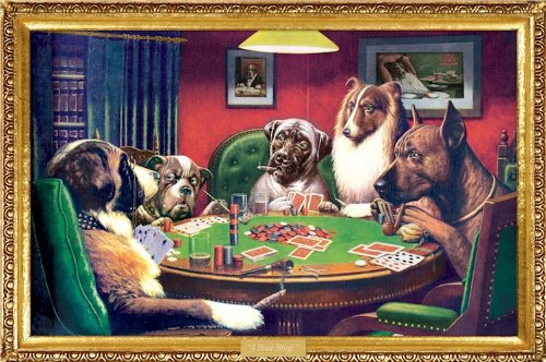 (24x36) C.M. Coolidge (Bold Bluff, Dogs Playing Poker) Art Poster Print Dogs Playing Cards Painting