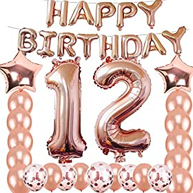12th Birthday Decorations Party Supplies, Jumbo Ro...
