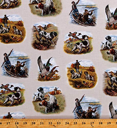 Cotton Hunting Scenes Ducks Pheasants Game Shooting Birds Dogs Spaniels Hunters Sports Afield Cream Cotton Fabric Print by The Yard (D671.18)