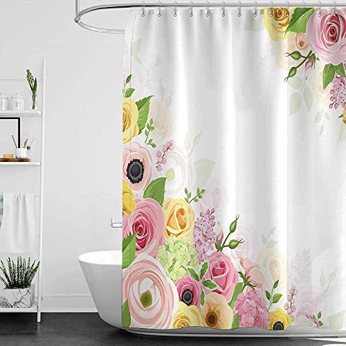 homecoco Shower Curtains Black Girl Anemone Flower,Roses Ranunculus and Hydrangea Flowers and Green Leaves Frame,Light Pink Yellow Green W48 x L84,Shower Curtain for clawfoot tub