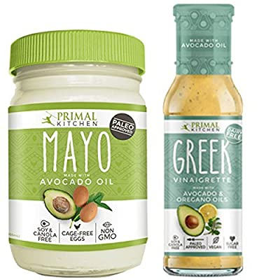 Primal Kitchen - Avocado Mayo and Greek Vinaigrette Combo Pack, Made with Avocado Oil & Organic Ingredients - Vegan & Paleo Approved