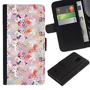 Samsung Galaxy S5 Mini / SM-G800 (Not For S5!!!) Modelo colorido cuero carpeta tirón caso cubierta piel Holster Funda protección - Colorful Flowers Pastel