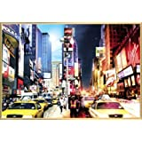 New York Poster and Frame (Plastic) - Times Square Day And Night (36 x 24 inches)