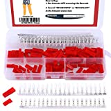 Hilitchi 300Pcs (50set) 2.54mm JST SYP 2-Pin Female & Male Red Plug Housing Crimp Terminal Connector Kit
