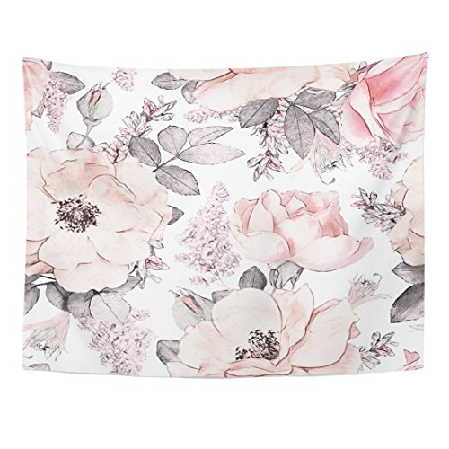 (Emvency Tapestry Pink Flowers and Leaves on White Watercolor Floral Pattern Rose in Pastel Color Tileable Home Decor Wall Hanging for Living Room Bedroom Dorm 60x80 Inches )