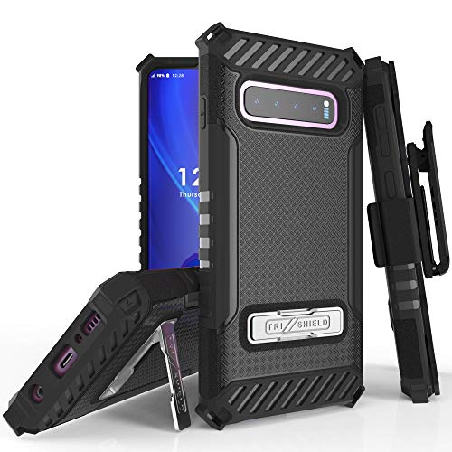 Trishield Series for S10 Case, Military Grade Rugged Cover + [Metal Kickstand] + Belt Clip Holster for Samsung Galaxy S10 (2019)- Black from Beyond Cell
