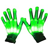 Gosear 1 Pair Finger Light Gloves LED Gloves Flashing Cotton Finger Hand Gloves Colorful Lighting for Dancing Carnival Concert Halloween Party Green