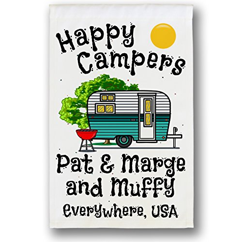 Happy Campers Personalized Retro Camper Campsite Flag, Customize Your Way, Flag Only (Turquoise)