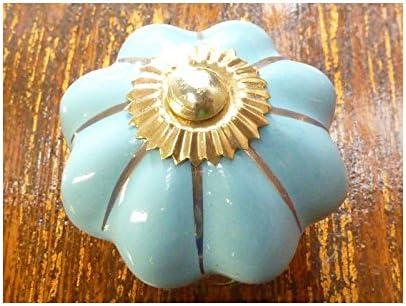 dailleurs KNB406 int Boutons en porcelaine bleu ciel filet dor/é