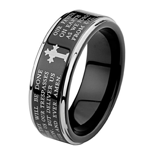 LASER-ENGRAVING-SERVICE-8MM-Wellingsale-LUXE-Series-Comfort-Fit-Wedding-Band-Ring-with-Black-PVD-Coating-Laser-Etched-Engraved-Lords-Prayer-Passage-Recessed-Smooth-Rounded-Edges-and-Gothic-Cross-in-Br