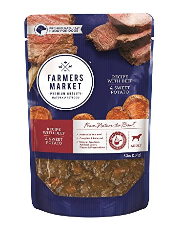 Farmers Market Pet Food Premium Natural Wet Dog Food Pouch, 5.3 oz, Beef & Sweet Potato (Case of 24) by Farmers Market Pet Food