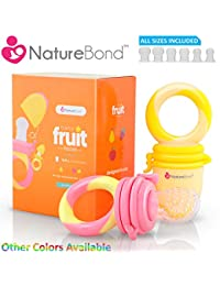 NatureBond Baby Food Feeder / Fruit Feeder Pacifier (2 PCs) - Infant Teething Toy Teether in Appetite Stimulating Colors | Includes 6 PCs All Sizes Silicone Sacs BOBEBE Online Baby Store From New York to Miami and Los Angeles