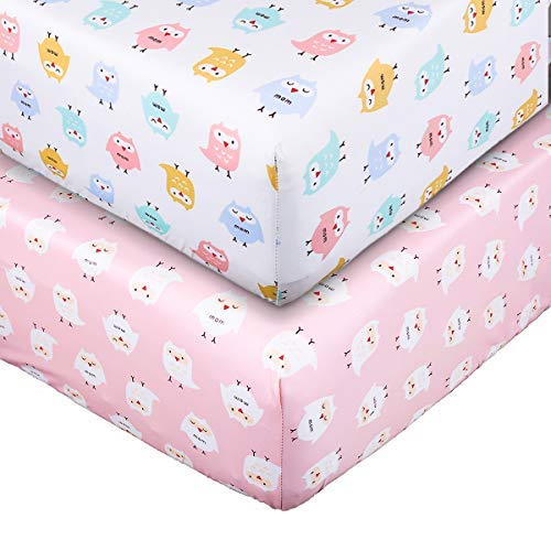 Crib Sheet Set UOMNY 100% Natural Cotton Crib Fitted Sheets Baby Sheet Set for Standard Crib and Toddler mattresses Nursery Bedding Sheet for Boys and Girls 2 Pack(Pink owl Pattern/White owl Pattern) ()