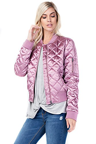 Allora Betsy Red Couture Women's Quilted Satin Bomber Jacket (S, Rose) (Linen Beaded Jacket)