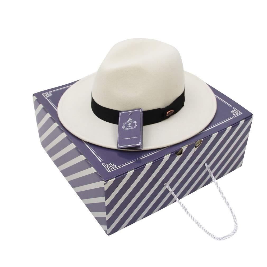 EOZY-Cappello Bianco Panama Vintage Uomo Unisex Fedora Lana Classico Bombetta Jazz Berretto Decorazione Cinturina