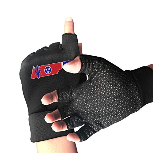 Tennessee State Outline With Flag Lineman Fingerless/Half Finger Gloves Bike Gloves/Cycling Mountain Gloves/Motorcycle Gloves With Anti-Slip Shock-Absorbing Breathable Men's/Women's Gloves
