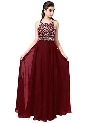 Stunning A-line Scoop Long Chiffon Prom Dress Evening Gown with Beading