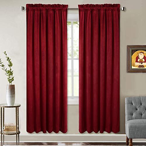 Velvet Bedroom Curtains Red 72-inch - Super Soft Luxury Rich Textured Velvet Drapes with Pole Top Sound Absorbing Privacy Panels for Film Room, W52 x L72-inch, 2 Pcs (Red Curtains Velour)
