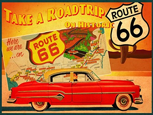 American Road Traditional Trip (Route 66 Metal Sign, Vintage Travel Postcard Highlighting Traditional American Destinations)