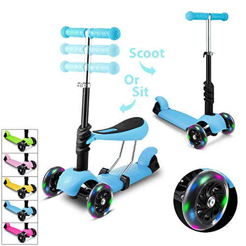 - WeSkate Kids Children Scooter 3 Wheel Kick Scooter with Adjustable Height Removable & Adjustable Seat, T-Handlebar and LED Light Up Wheel for Children Boys Girls 2-6Years Old