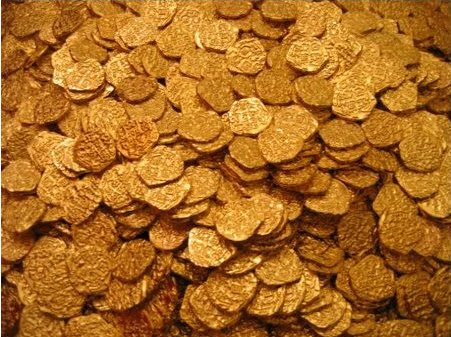 Lot of 50 Shiny Metal Gold Pirate Treasure - Gold Usa Metals