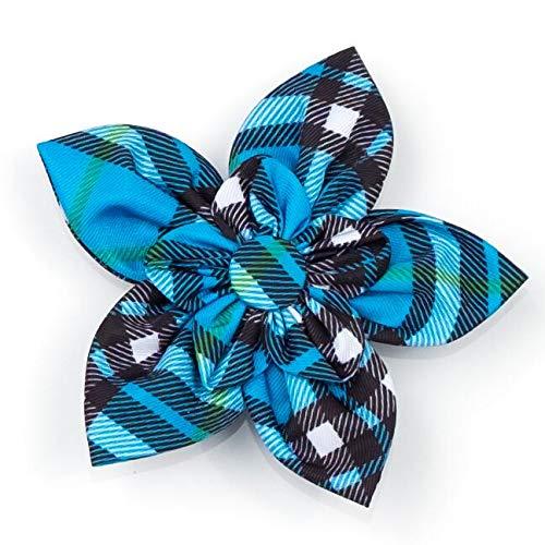 The Worthy Dog Blue Bias Plaid Pattern Flower for PetsBlue, SM ()