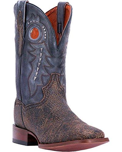 Dan Placera Mens Badlands Nödställda Läder Cowboy Boot Fyrkantig Tå - Dp3974 Svart