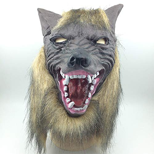 OuYang Novelty Halloween Costume Cosplay Party Mask Werewolf Skull Wolf Costumes Men's Head Mask Madness Costume for Friday Party,Gift, Masquerade Parties,Christmas,Easter- Wolf Head