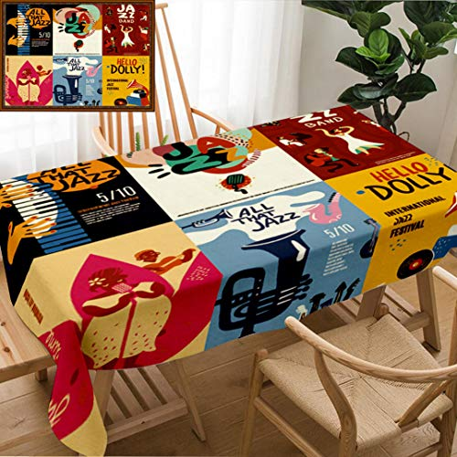 Skocici Unique Custom Design Cotton and Linen Blend Tablecloth Colorful Jazz Festival Musicians Singers and Musical Instruments Poster Set Flat IsolatedTablecovers for Rectangle Tables, 78