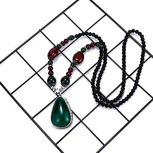 Vintage Green Long Women Beaded Beads Necklace Bead Pendant Jewelry