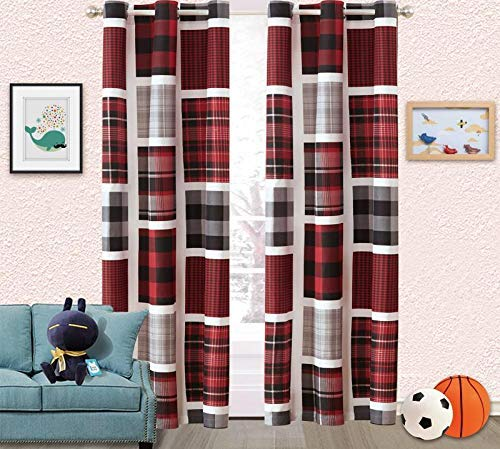 - Fancy Linen 2 Panel Curtain Set Plaid Patchwork Red Black Grey White New