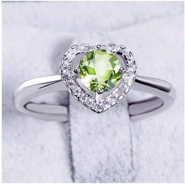 lem Abrillantador de anillosCompromiso de peridoto Natural Anillo de Piedras Preciosas de halo Plata 925