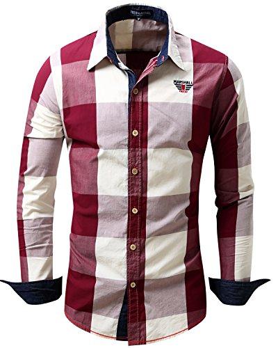 JoJoJoy Men's Casual Long Sleeve Plaid Button Down Shirt Contrast Color Block Pattern Red Size (Pattern Pants Shirt)