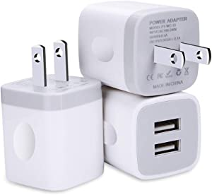 USB Wall Charger, Charging Block, FiveBox 3Pack Dual Port 2.1A Wall Charger Brick Base Adapter Charging Cube Plug Charger Box Compatible iPhone X/6/6S/7/8 Plus, iPad, Samsung, Android, LG, HTC, Phone