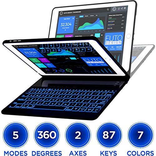 iPad Keyboard Case for iPad 2018 (6th Gen) - iPad 2017 (5th Gen) - iPad Pro 9.7 - iPad Air 2 & 1 - Thin & Light - 360 Rotatable - Wireless - Backlit 7 Color - Auto Sleep/Wake (9.7, Black) by EUTO