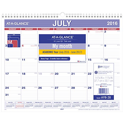AT-A-GLANCE Academic Year Monthly Wall Calendar, July 2016 - June 2017, 14-7/8