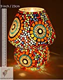 EarthenMetal Mosaic Style Dome Shaped Glass Table Lamp (Multicolour)