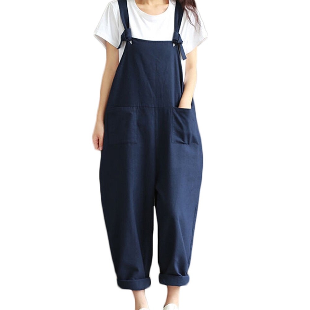 WANGSCANIS Plus Size Baggy Linen Overalls Casual Wide Leg Pants Sleeveless Rompers Jumpsuit Vintage Haren Pants (Label 3XL, Blue)