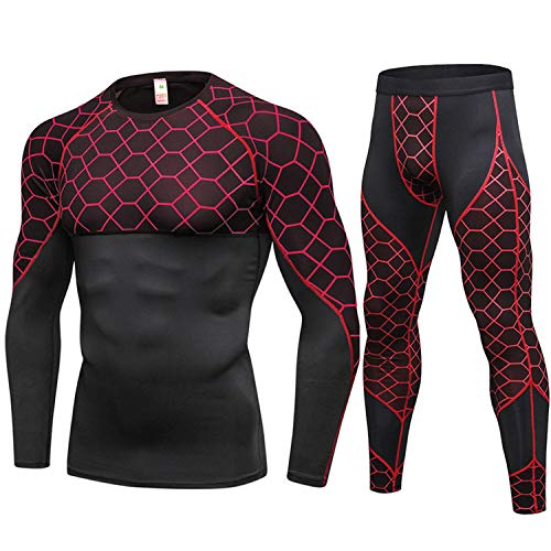 New Long Johns Winter Thermal Underwear Sets Men Quick Dry Anti-Microbial Stretch Warm Fitness,Red,L