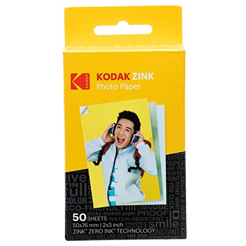 Kodak 2ʺx3ʺ Premium Zink Photo Paper (50 Sheets) Compatible with KODAK Smile and PRINTOMATIC (NOT with Kodak Mini Shot, Mini2) from KODAK