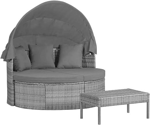 Tidyard - Mueble de jardín | Salón de jardín | Mueble exterior con cojines y almohadas de resina trenzada gris: Amazon.es: Hogar