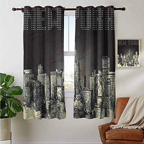 fengruiyanjing Extra Long/Short Drapes and Curtains Custom Available, New York, Grunge Empire State NYC 63