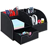 Black Leatherette Multi Compartment Office Desktop Supply Holder Caddy Organizer with Drawer