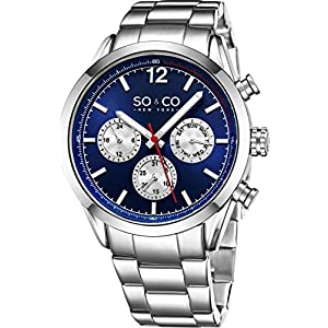 """SO&CO New York Mens """"Specialty Monticello"""" Stainless Steel Multifuction Quartz Wrist Watch with Date"""
